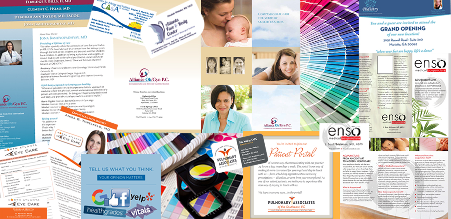 Collage of printed marketing material we have produced